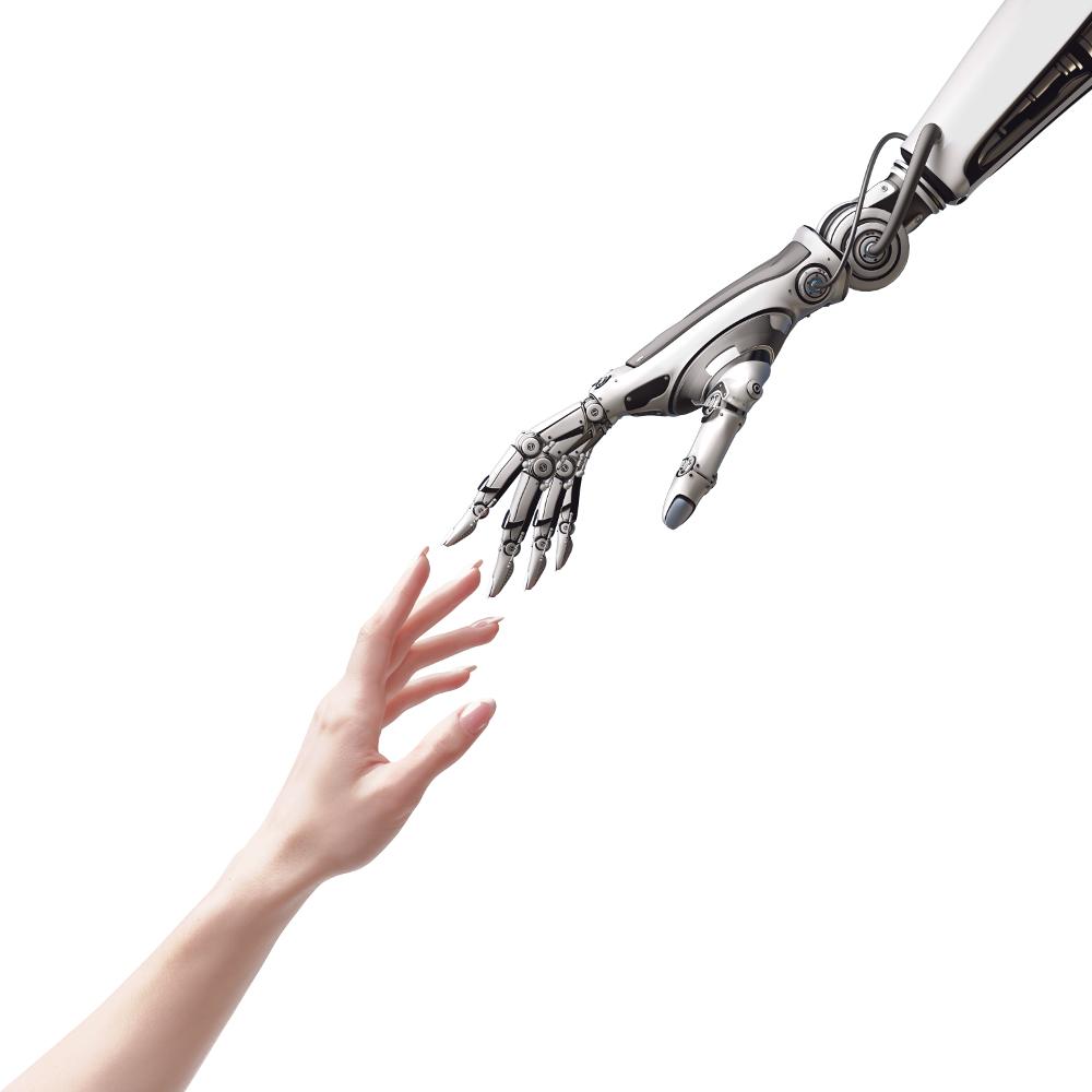 Mensch und Technik Hand in Hand